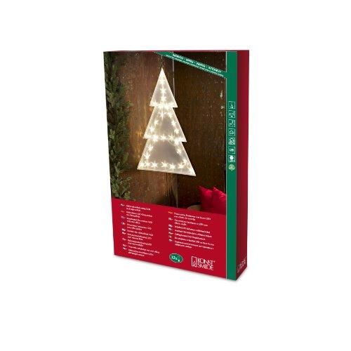 Konstsmide 2799-103 LED Kunststofftannenbaum mit Sterneffekt / für Innen (IP20) /  24V Innentrafo / 32 warm weiße Dioden / transparentes Kabel