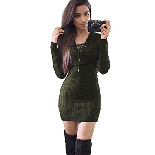 Amlaiworld Damen unregelmäßige Perspektive ärmel hoher Kragen figurbetontes Kleid, Neue Herbst&Winter warme Pullover Kleid (S, - Neue Kleider