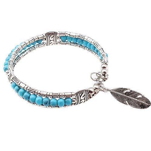 Pu ran donne uomini piuma perline turchese tibetano bracciale gioielli etnici regalo e lega, colore: blue, cod. 2632
