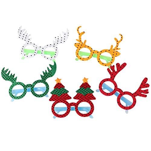 (BESTOYARD 5pcs Glitter Christmas Tree Elk Glasses Frames Cute Cartoon Sunglasses Costume Accessory Party Decoration Gifts for Kids)