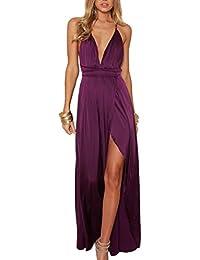 Terryfy Damen Partykleid Sexy V-Ausschnitt Rückenfrei Satin Maxi Kleid Lang Kleid Abendkleid Dress mit Schlitz
