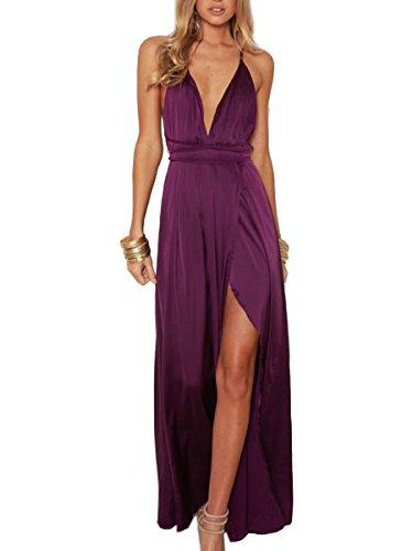 Simplee Apparel Damen Partykleid Sexy V-Ausschnitt Rückenfrei Maxi Lang Satin Träger Kleid Abendkleid Cocktailkleid Violett (Satin Kleider Sexy)