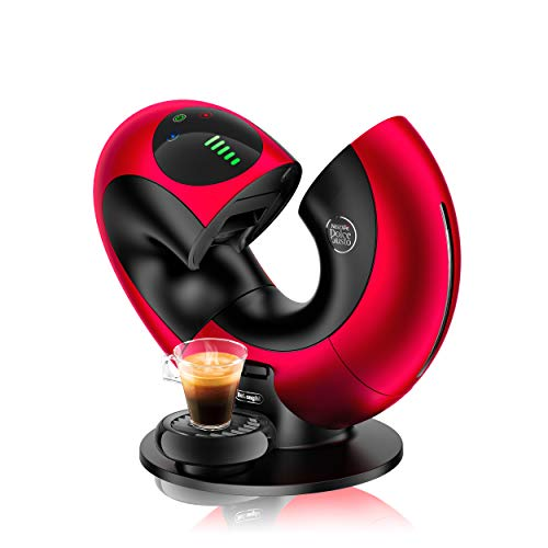 DeLonghi EDG736.RM | NESCAFÉ Dolce Gusto Eclipse | Kapsel Kaffeemaschine | Für heiße und kalte Getränke | 15 bar Pumpendruck für samtige Crema | Sensor Touch Bedienung |Red Metallic