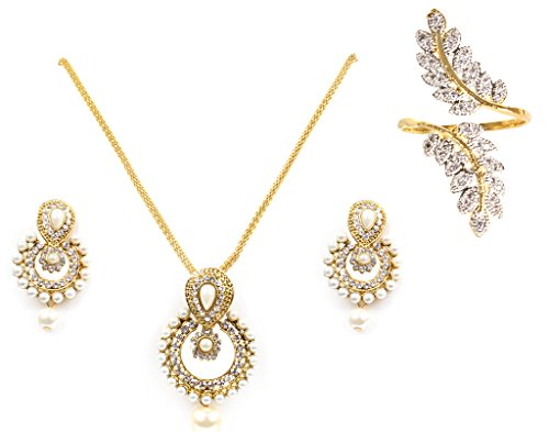Lady Touch Combo Of American Diamond Gold Plated Ramleela Pearl Pendant Set With Finger Ring for Girls And Women