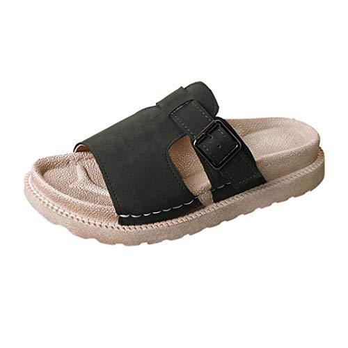 Honestyi ciabatte unisex – adulto, slip on scarpe donna pantofole piatte con fibbia in pelle con fibbia per la cintura da donna zoccoli e sabot pantofole da casa interno e all'aperto