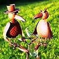 Regenmesser Vogelduo mit Hut Metall braun von Ex. - Du und dein Garten
