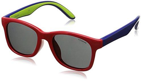 Polaroid Unisex-Kinder PLD 8001/S Y2 T21 48 Sonnenbrille, Rot (Red Blue/Grey Pz),