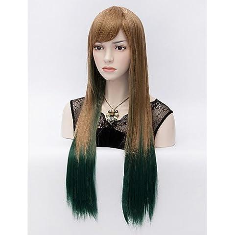 Pelucas de la manera conveniente y cómodo el sufeng marrón original de gradiente de cara verde larga peluca de pelo
