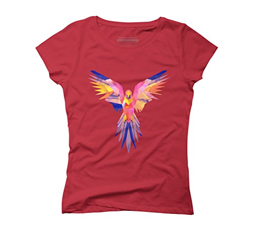 Polygon Parrot Women's Graphic T-Shirt - Design By Humans Red