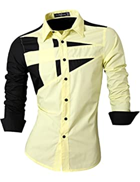 jeansian Uomo Camicie Maniche Lunghe Moda Men Shirts Slim Fit Casual Long Sleves Fashion 8397 Yellow S