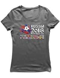 lepni.me Camiseta Mujer Copa Mundial de Rusia 2018, Las 32 Banderas Nacionales del