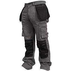 newfacelook Hommes Travailler Cargo Pantalon Genou Holster Poche Gris W38-L34