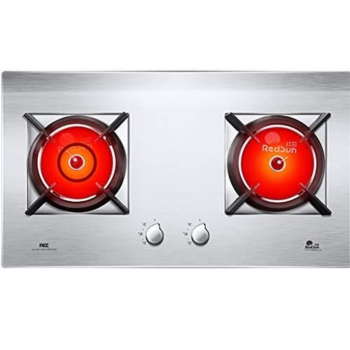 Gaskochfeld 2-Flammen-Gasherd aus Edelstahl, rutschfeste Gusseisenhalterung, hohe Feuerkraft von 1100 ℃, mit automatischem Flammschutz, silberfarben