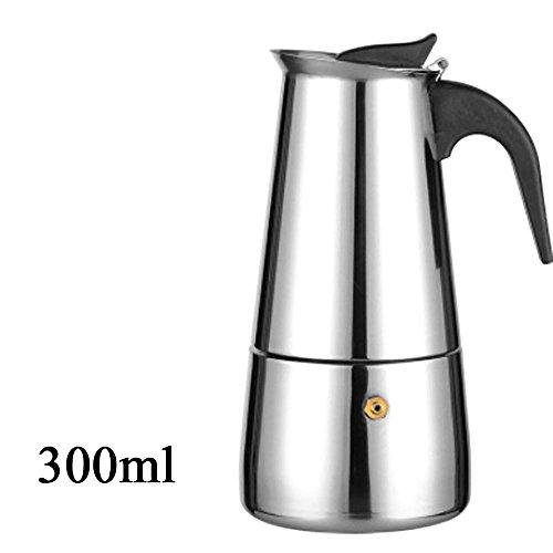 Kompassswc Edelstahl Kaffeekocher Espressokocher Mokkakocher für Herd (300mL Kapazität Für 6 Tassen)