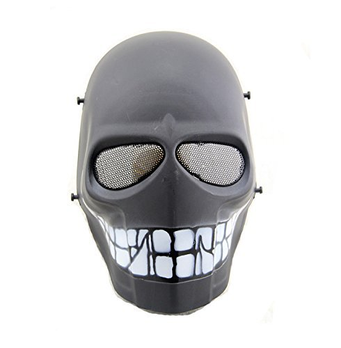 Kostüm Paintball Halloween - Worldshopping4U - Ganzgesichts-Schutzmaske für Airsoft, Paintball, Cosplay, Hockey, Halloween, als Kostüm, Schwarz/lächelnd/Kreuz/Totenkopf, Black Smile