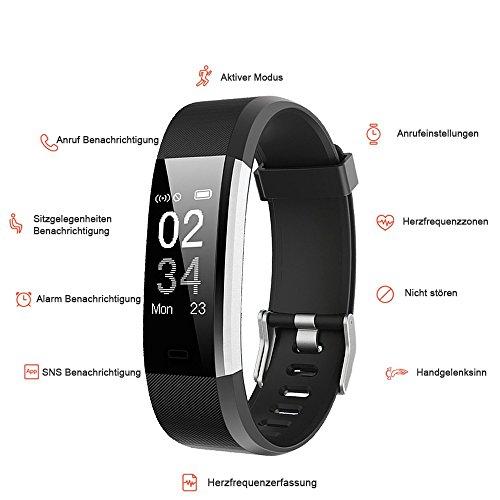 YAMAY Fitness Armband,Wasserdicht IP67 Fitness Tracker Smartwatch Aktivitätstracker Pulsuhren Smart Watch Schrittzähler Fitness Uhr Vibrationsalarm Anruf SMS Whatsapp Beachtenfür iOS Android Handy - 6