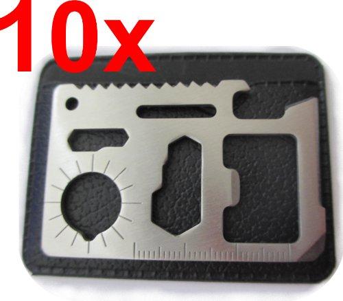 10x Survival Card Tool Multi Funktion Überlebenskarte mit Etui