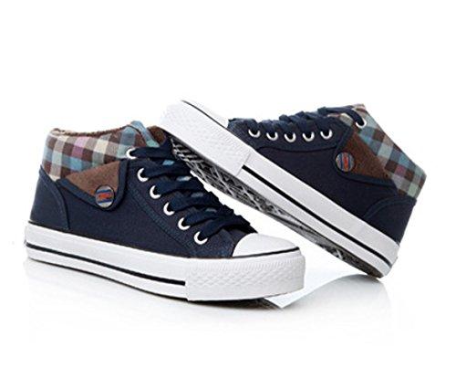 Damen Moderne Canvas Schuhe Rund Zehen Tragene Anti-Rutsche Gummi Sohle Bequem Schnürschuhe Blau