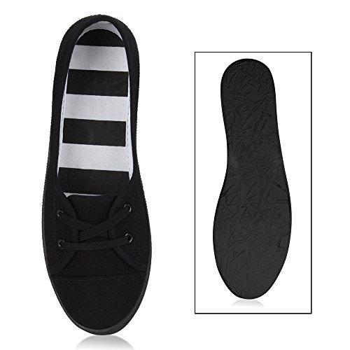 Sportliche Damen Halbschuhe Sneakers Schnürer Schuhe Schwarz
