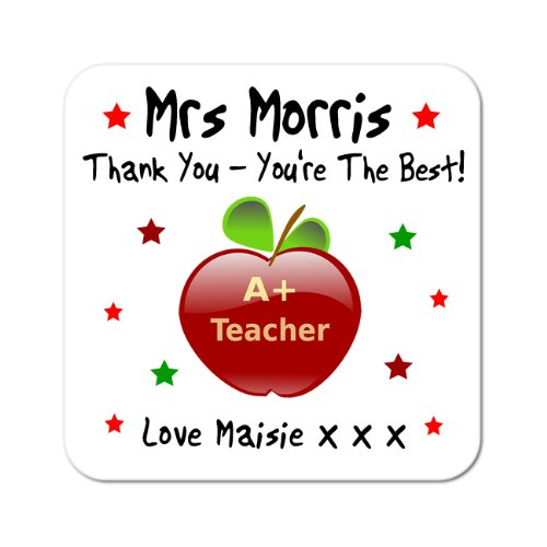personalised-thank-you-teacher-apple-wooden-coaster-gift-free-uk-shipping