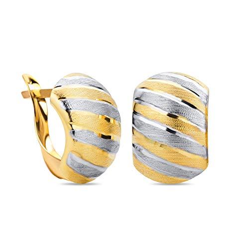 14 Karat 585 Gold Ohrringe Creolen Bicolor Matt & Glänzend Ohrschmuck – SIT18 (Creolen Kleine Gold 14kt)