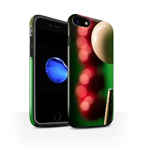 STUFF4 Glanz Harten Stoßfest Hülle / Case für Apple iPhone 8 / Blaue Kugel/Rack/Rosa Muster / Snooker Kollektion Queue Kugel