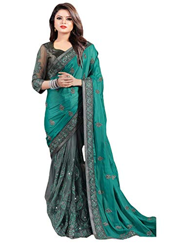 Arohi Designer Women\'s Georgette and Heavy Net Saree with Blouse Piece (Green, Free Size)