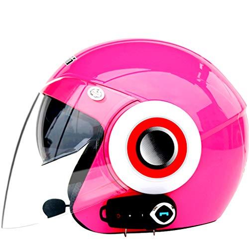 LTOOTA Casco Moto Integrale Bluetooth, Elmetto Anti-Appannamento Modulare Doppio Parasole Aperto Bluetooth Integrato Microfono Altoparlante Incorporato, Certificazione Ece 22.05,Pink,M