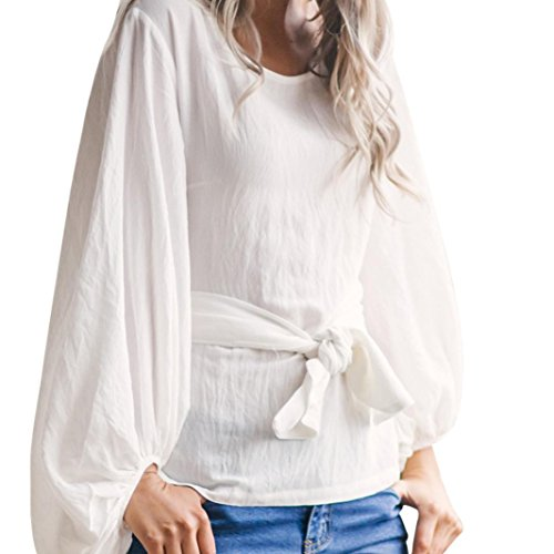 YunYoud Damen Solide Lange Laternenhülse Lose Beiläufig Bluse Tops (XL, Weiß) (Graue Blend Pullover)