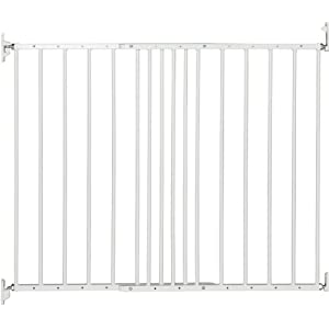 BabyDan Multidan Extending Metal Safety Gate, White Dreambaby DETAILS:  6 configurable panels, measuring a total of 3.8m wide and standing 74cm tall. Additional extension panels (F1950 -sold separately) can be quickly and easily added. Wall brackets included. Complies with the latest EU Safety Standard 12227. VERSATILE: Can be installed as a freestanding Playpen, a hardware-mounted Fireguard or an extra-wide Barrier Gate for small children or pets. You can keep everyone safer, right where you want them. STAY-OPEN DOOR: One of the six panels of this gate is equipped with a Smart Stay-Open Door. This allows you to move freely while your child is down for a nap. Ideal for when you need quick access for 'toy clean up' time. 9