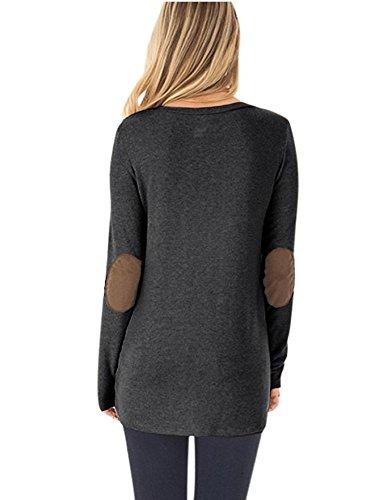 Donna T Shirt Manica Lunga Rotondo Collo Basic Patchwork Vintage Eleganti Giuntura Con Bottoni Moda Giovane Hippie Casual Donne Primavera Autunnali Maglietta T-Shirt Blusa Shirt Tops Nero