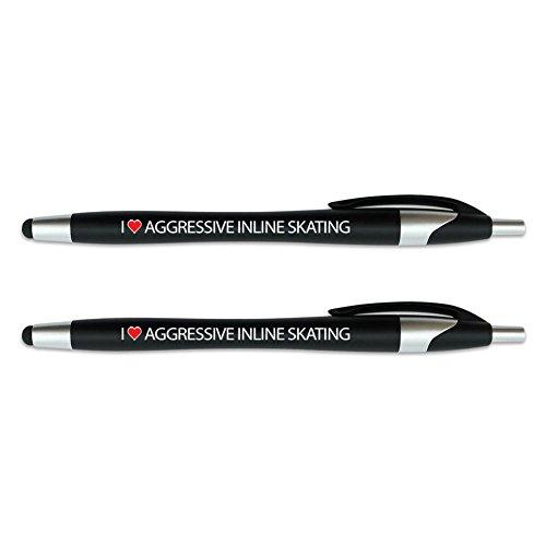 I love Sport–Stylus mit einziehbarem schwarz Ink Ball Point Pen 2in1Combo funktioniert auf jedem Touch Bildschirm Gerät wie iPad, iPhone, Tablets und mehr–2Pack–Schwarz schwarz Aggressive Inline Skating (Aggressive Skating)