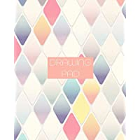 Drawing Pad: 8x10 Girly Diamond Pattern Sketchbook in Pastel Colors, with 110 pages or Bordered Drawing Paper