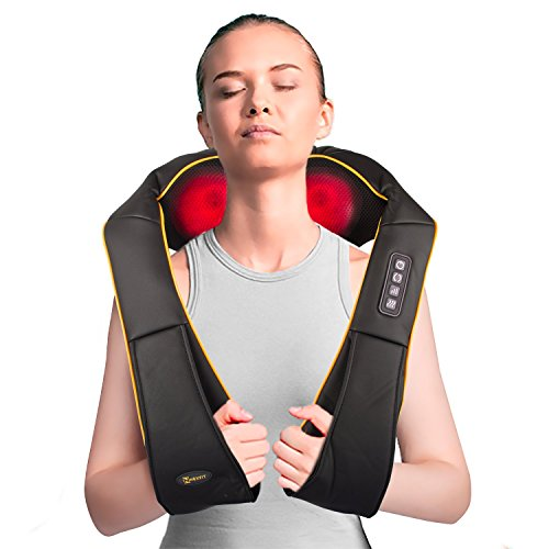 Nexfit Massagegerät Nacken Schulter Rücken Shiatsu Nackenmassagegerät mit Wärmefunktion Nackenkissen Rückenmassagegerät mit Heizfunktion 3 einstellbaren Geschwindigkeiten zur