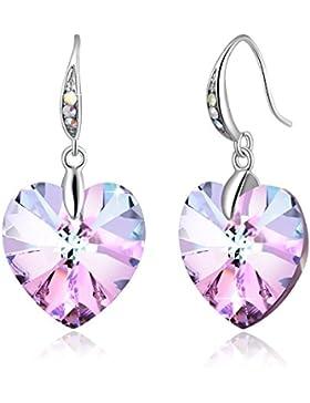 Ohrringe Mädchen PLATO H Fischhaken Herz Anhänger Ohrringe Damen mit funkelnden Kristall von SWAROVSKI ® Tropfen...