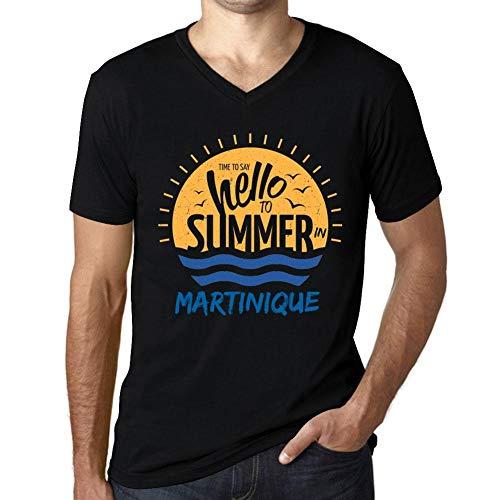 Herren Grafik V-Ausschnitt Tee Shirt Martinique Noir Schwarz -