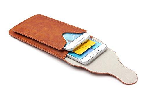 iPhone 6S 6Plus Gürtelclip, vertikalen Premium Echt Leder Tasche Holster Gürtel Taille Ultrathin Tasche Magnetverschluss Tragetasche mit Karabiner für Samsung S7Edge Plus Double Fall 14cm + Schlüss Kaffee