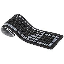 Clavier sans fil - TOOGOO(R)Portable Mini Flexible Clavier resistant a l'eau Lavable souple silicone sans fil avec recepteur USB pour PC tablette Laptop Ordinateur