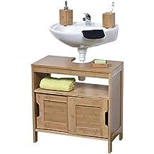 Tendance–Mahe bambú lavado mesa estructura Plus 2MDF puertas correderas armario y 1estante interior, madera, color beige