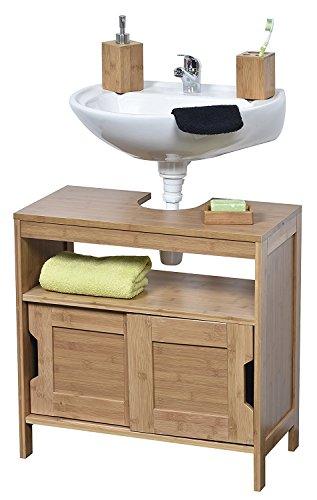Tendance mahe bambù lavaggio tavolo struttura plus 2ante scorrevoli in mdf e 1ripiano interno, da pavimento, in legno, beige