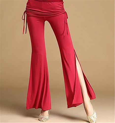 ventre confortable pantalon de formation de danse / danse pantalon pratique de taille / pantalon de yoga Red