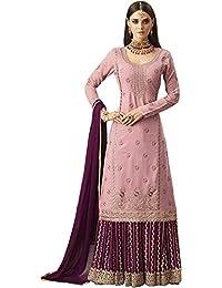 6e1e9ee8d4ae Comet Enterprise Women's Faux Georgette Sharara Salwar Suit (Pink , Free  Size)