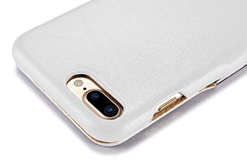 Luxus Tasche für Apple iPhone 8 Plus und iPhone 7 Plus (5.5 Zoll) / Case mit Echt-Leder Außenseite / Schutz-Hülle seitlich aufklappbar / ultra-slim Cover / Etui mit Textil-Innenseite / Farbe: Weiß - Bild 3