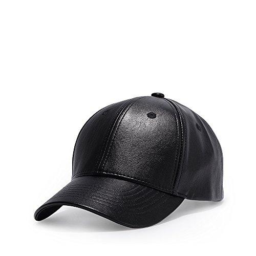 4be5bcb8734d JEDAGX Kunstleder flache Krempe verstellbare Snapback Baseball Cap schwarz  Hip-Hop-Hut PU-