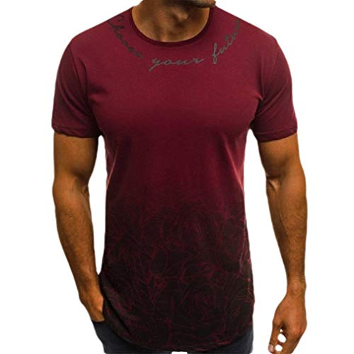CuteRose Men's Gradient Color Floral Short-Sleeve Skinny Blouse T-Shirt Tops Wine Red L Patch-1/4 Zip Pullover