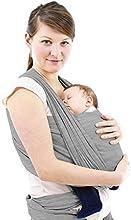 Schukaps Baby - Fular Portabebes de alta calidad - Para Mujer y Hombre - Talla única - Gris - Pañuelo Porta BEBE - Baby Carrier Sling Wrap - 95% Algodón - 5% Elastano - Portador de Bebe - Lleve a su bebe cómodamente