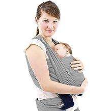 Fular Portabebes de alta calidad - Schukaps Baby - Para Mujer y Hombre - Talla única - Gris - Pañuelo Porta BEBE - Baby Carrier Sling Wrap - 95% Algodón - 5% Elastano - Portador de Bebe - Lleve a su bebe cómodamente