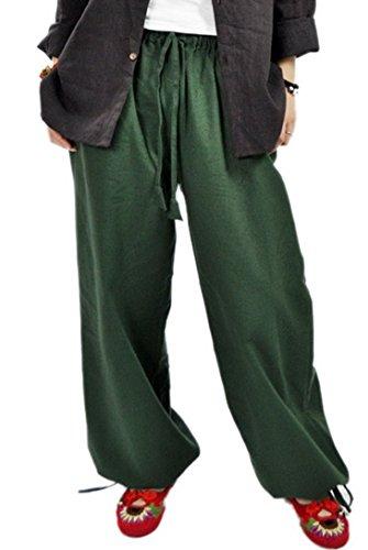 Aivtalk - Femme Pantalons Sarouel Yoga en Lin - Pantalons Jambes Larges Ceinture Élastique - Pantalons Simple National Vent Vert Foncé