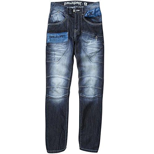 Jeans Hommes Rawcraft Designer Nouveau Bleu Jeans Foncé Décoloré Lavage Droit Ajusté Pantalon Délavé Foncé