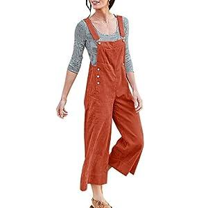 Ybenlover Damen Lange Latzhose Lässig Cord Culottes Hose Jumpsuit Overalls